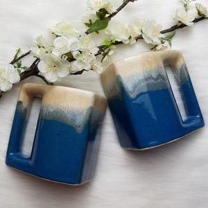 Set of 2 Glazed Ceramic Painted Funky Coffee Mugs